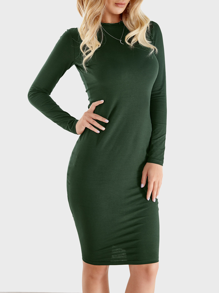 Blackish Green Round Neck Long Sleeve Midi Dress