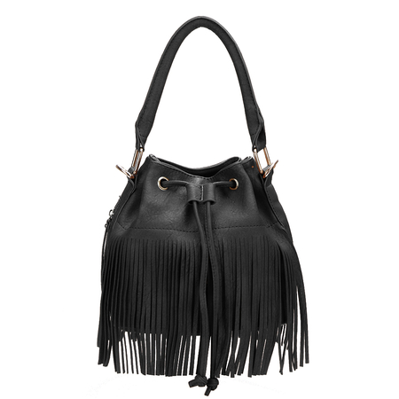 Black Drawstring Leather Look - Bolsa de cubo con borlas