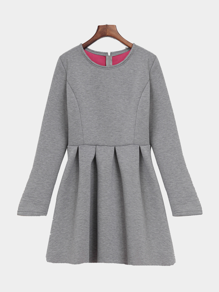 Grey 1/2 Length Sleeves High-waist Design Dress
