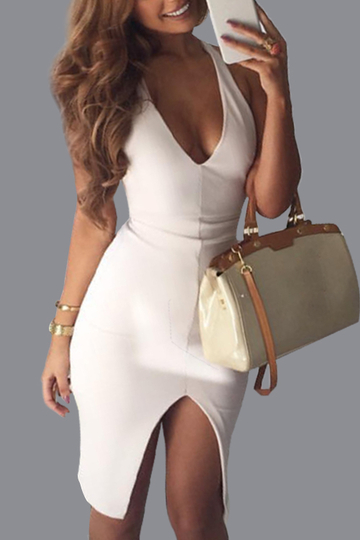 White Sexy V neck Backless Design Slit Hem Party Dress