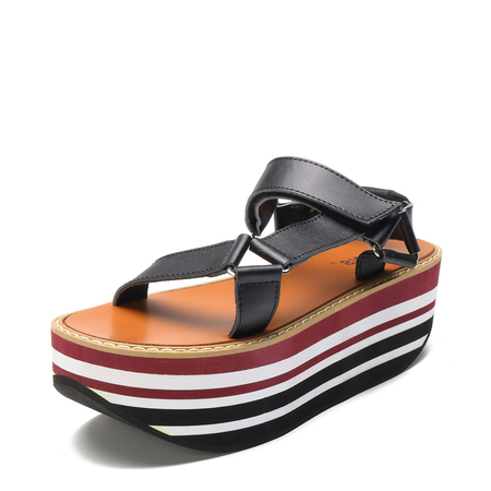 Black Stripe Buckle Platfrom Sandals