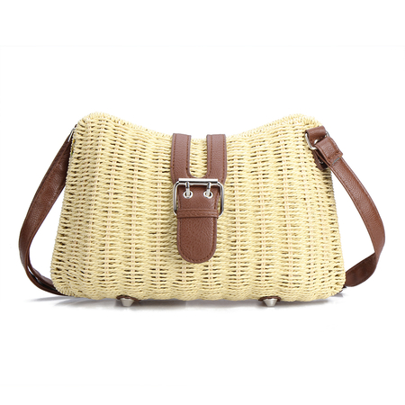 Beige Woven Shoulder Bag with Magnetic Closure