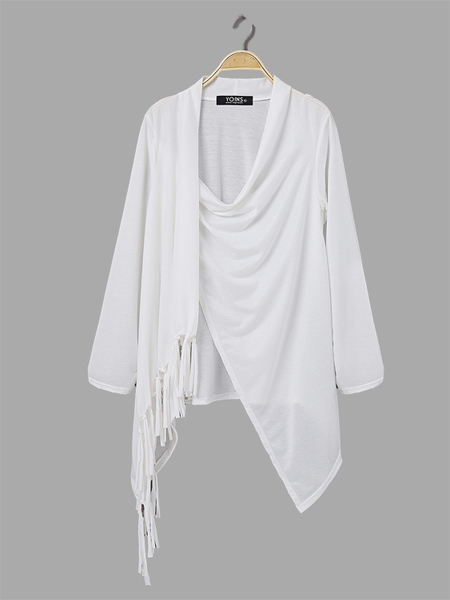 Sheer-through White Top with Tassel Details and Irregular Hem