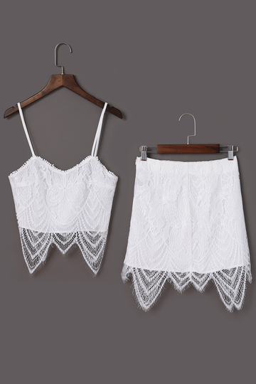 White Lace Detalis Crop Top & Mini Skirt Co-ord