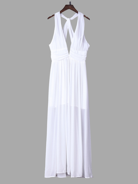 White Plunge V-neck Halter Neck Maxi Chiffon Dress
