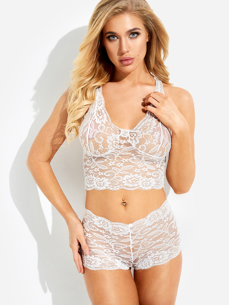 White V-neck Sleeveless High Waist Lace Details Lingerie Set