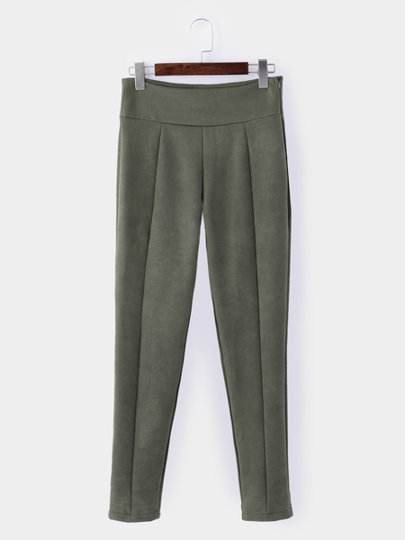 Army Green Side Zipper High Waisted Suede Skinny Pants