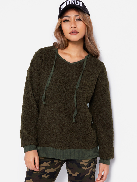 Army Green Hooded Design Long Sleeves Faux Fur Sweater