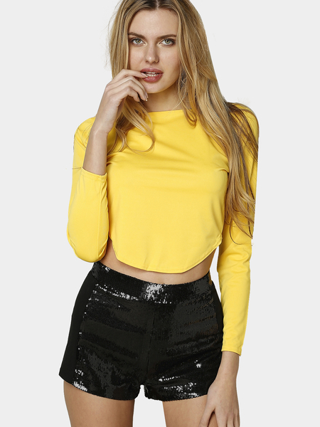 Yellow Curved Crop Top