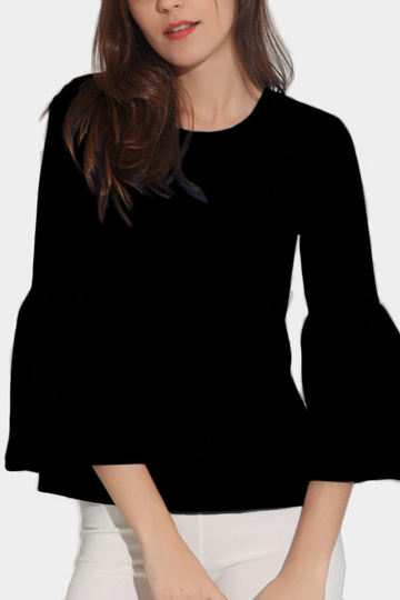 Black Round Neck Lantern Sleeves T-shirt