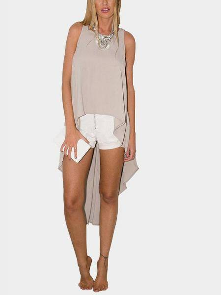Khaki Round Neck Irregular Hem Sleeveless Design Top