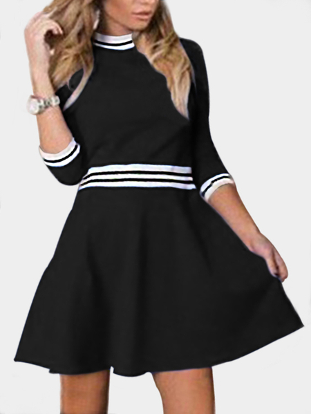 Black Christmas A-line Round Neck Pleated Hem Stripe Dress