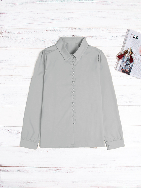 Grey Lapel Collar Long Sleeves Blouse