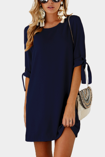 Navy Self-tie at Sleeves Mini Dress