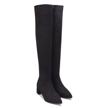 Black Artificial Suede Over The Knee Boots