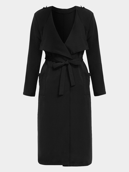 Black Long Sleeves Lapel Collar Self-Tie-Belt Trench Coat