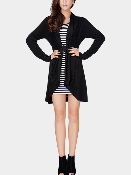 Black Tie Waist Knitted Cardigan with Irregular Hem