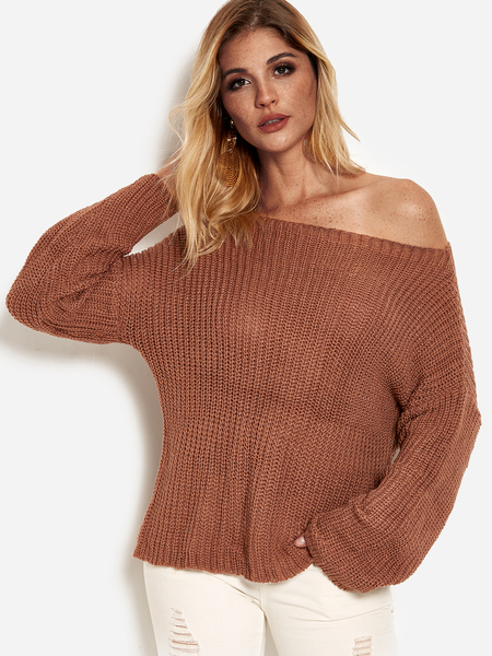 Rust One Shoulder Long Sleeves Sweater