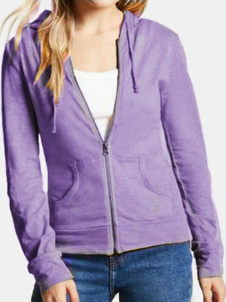 Active Round Neck Zip Design Sports Hoodies in Light Purple