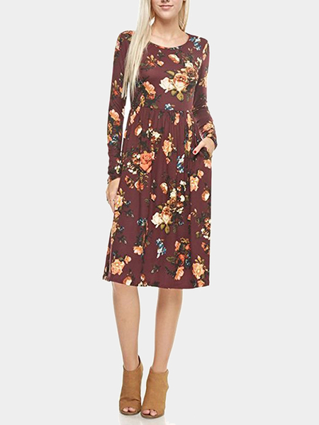 Brown Random Floral Print Long Sleeves Midi Dress