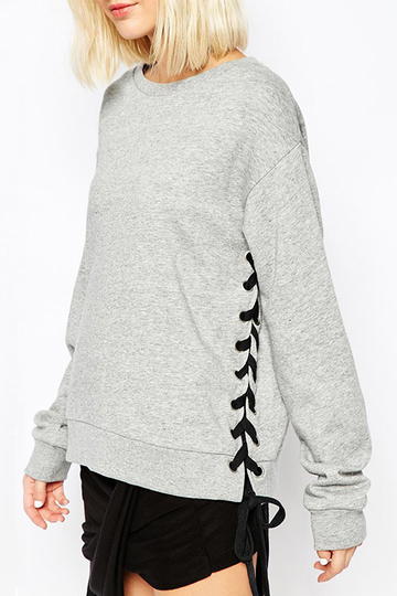 Side Cable Lace-up Pullover Top