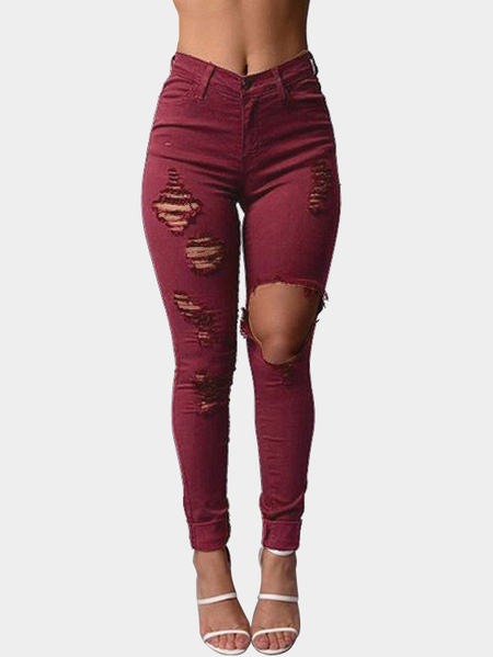 Burgundy Boyfriend Style High Waist Ripped Jeans