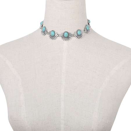 Silvery Bohemia Style Necklace With Blue Stone