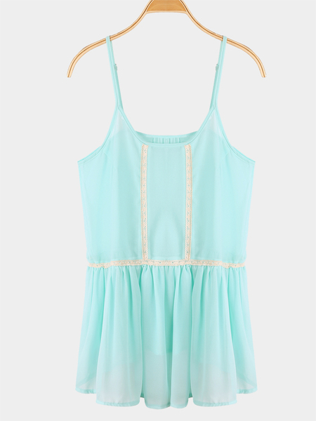 Loose Round Neck Lace Details Strappy Cami
