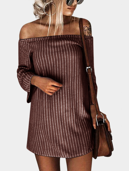 Coffee Sexy Off Shoulder Lace Up Stripe Patern Mini dress