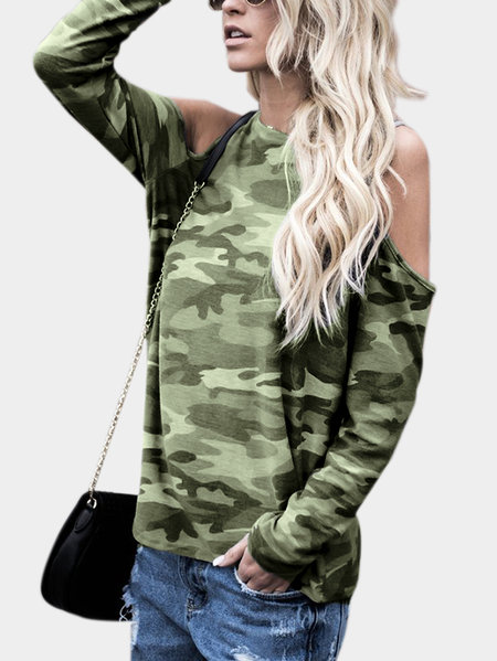 Camouflage Cold Shoulder Long Sleeves T-shirt