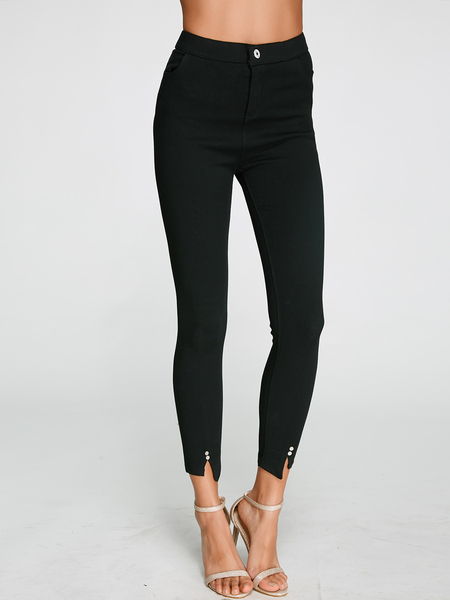 Black Middle Waist Elastic Bodycon Pants