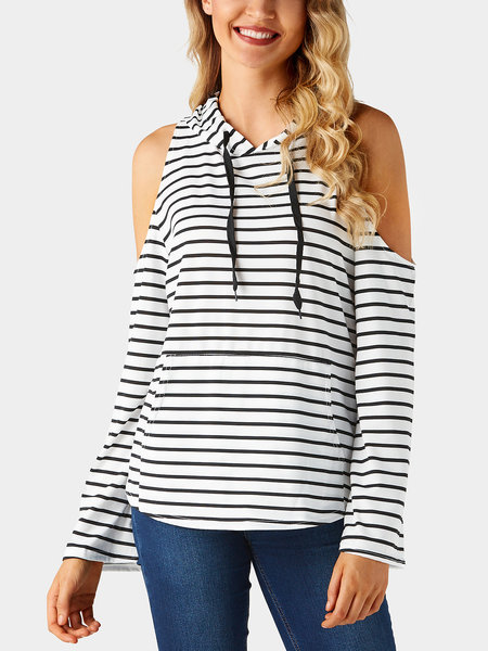 Basic Stripe Cold Shoulder Side Pockets Hooded Design T-shirt