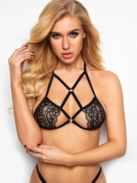 Black Halter Lace-up Design Lace Details Bra