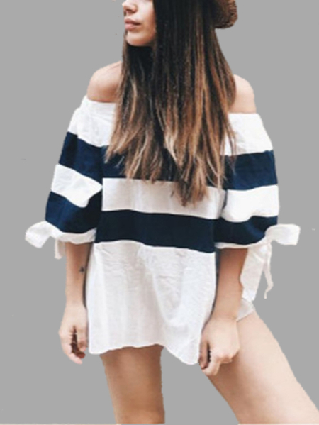 Contrast Stripe Pattern Off-shoulder Top With Tie Side