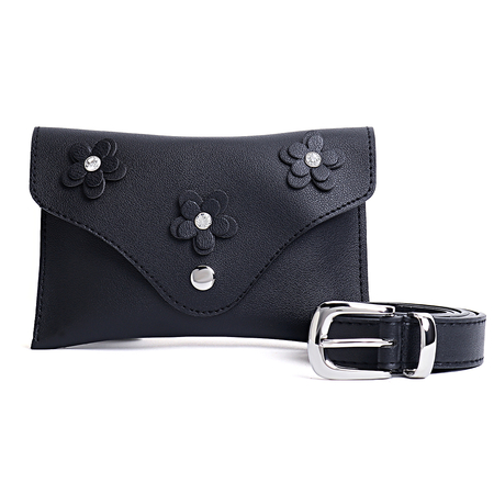 Black Flower Bum Bag with Waist Belt