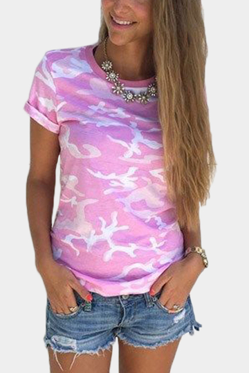 Crew Neck Camo Print Tees in Pink