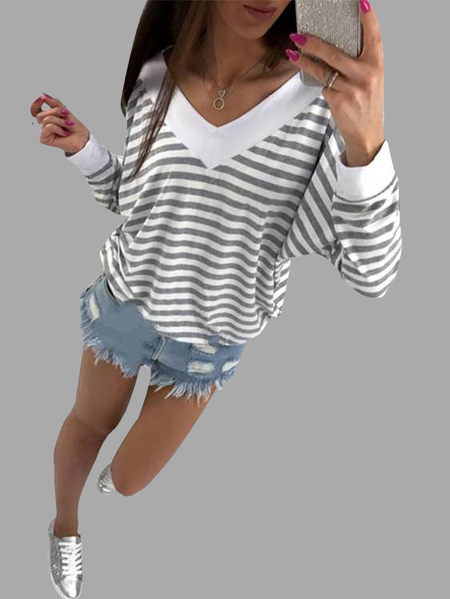 Grey and White Stripe Pattern V-neck Long Sleeves Top