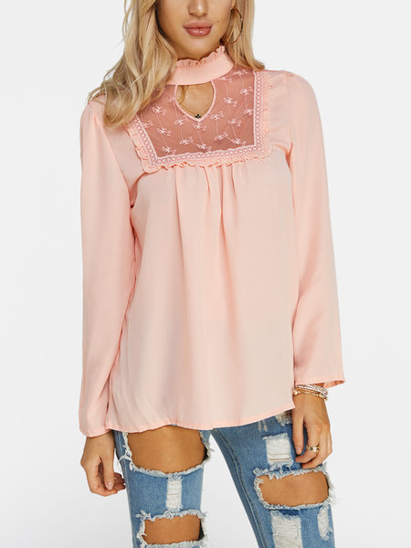 Pink Lace Details Long Sleeves Top
