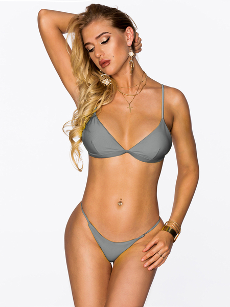 Grey Sexy Plunge V-neck Triangle Bikini Set