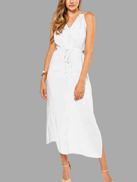 Sleeveless Back Lace-up Side Split Beach Maxi Dress In White