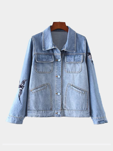 Blue Classic Collar Embroidery Animal Pattern Denim Jacket