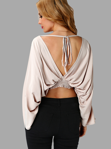 Long sleeves Self-tie Backless Crop Top
