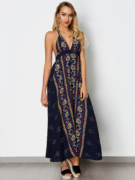 Boho style Backless Random Floral Print Halter Sleeveless Dress