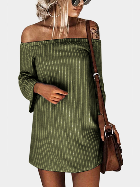 Army Green Sexy Off Shoulder Lace Up Stripe Pattern Mini dress