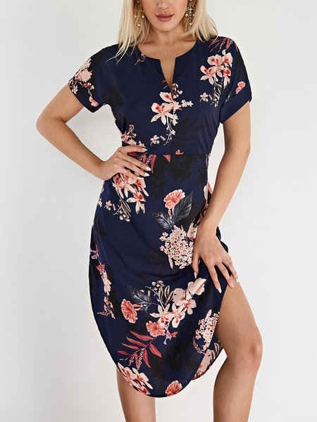 Navy Floral Print V-neck Short Sleeves Dresses