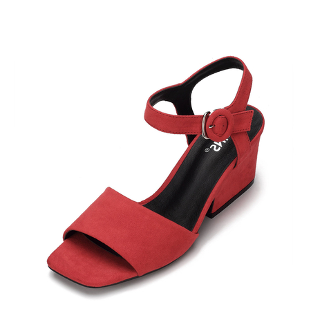Red Simple Heeled Sandal