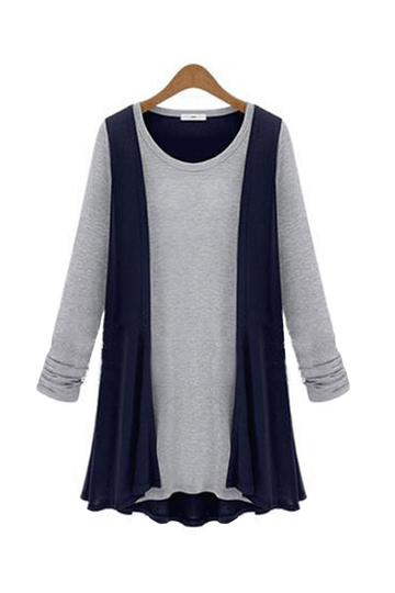 Plus Size Navy Two-in-one Cardigan Shirt