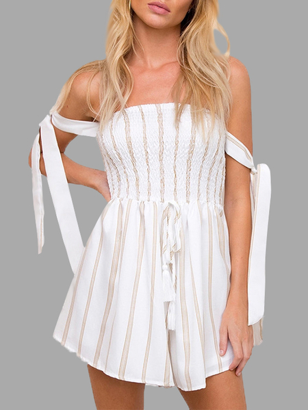 Striped Strapless Shirred Bodice Playsuit in White