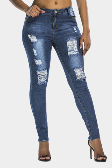 Dark Blue Ripped Details Skinny Jeans