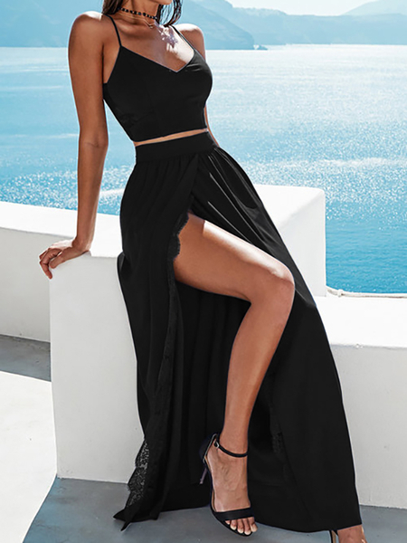 Opening Split with Lace Trim Maxi Skirts in Black